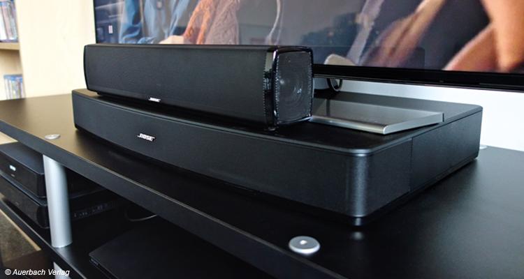 Das haben wir nicht erwartet: Die zierliche Soundbar des Cinemate 120 (oben) beeindruckte stärker als die Soundplate Solo 15