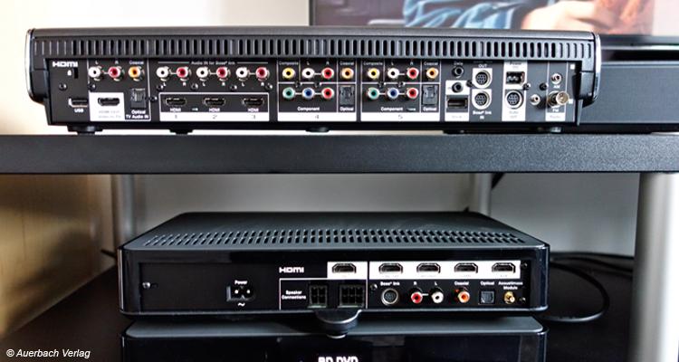 Die Lifestyle-Basiseinheit (oben) bietet mehr Anschlüsse und HD-Audio-Decoder, die Cinemate dagegen moderneres HDMI