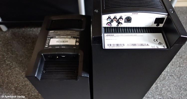 Im Gegensatz zum Lifestyle-Subwoofer (rechts) kommuniziert der Cinemate-Subwoofer drahtlos mit der Bedienkonsole