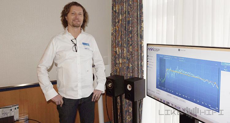 Niklas Baur (Blue Planet Acoustic) präsentierte stolz die DSPs vom MiniDSP und zeigte an den Lautsprechern von Omnes Audio was alles möglich ist.