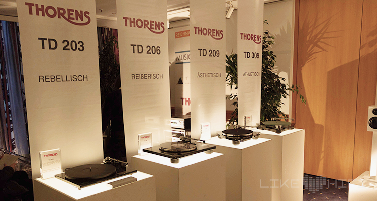 In Reih und Glied: die aktuellen Thorens-Plattenspieler im Portfolio von Reichmann Audiosysteme.