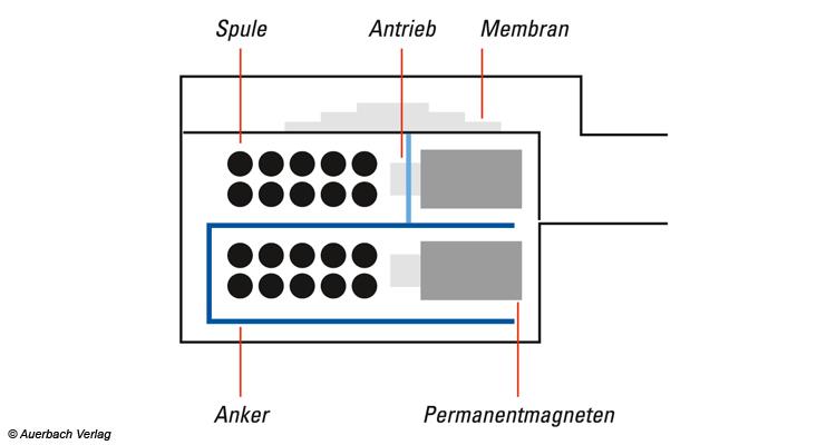Funktionsprinzip des BA-Wandlers: Die vom Audiosignal durchflossene Spule (hier durch die vielen Punkte im Querschnitt angedeutet), verläuft um den Anker. Die Membran ist fest mit dem Anker verbunden