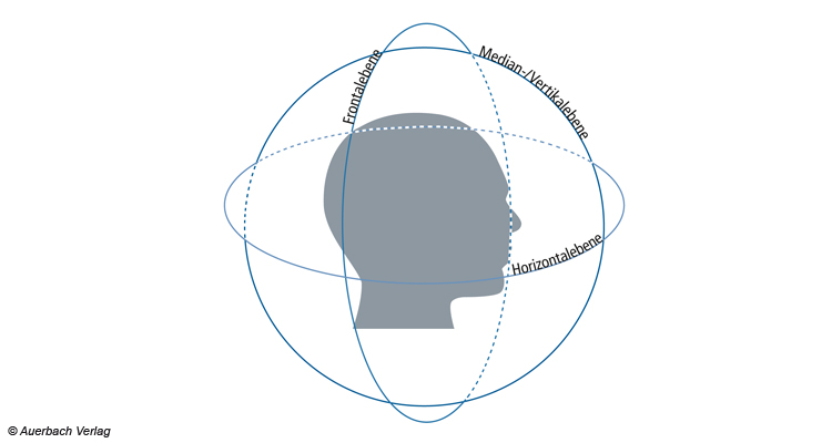 Grafische Darstellung der gedachten Ebenen des Richtungshörens
