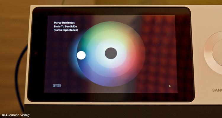 MoodWheel – die Farben geben die Musikrichtung vor und sichtbaren Ringe woher die abgespielte Musik kommt (eigene Sammlung oder Deezer-Bibliothek)