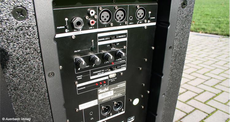 Teufel Rockster Test Review Bluetooth Speaker Lautsprecher Outdoor Wireless Anschlüsse Rear Rückseite