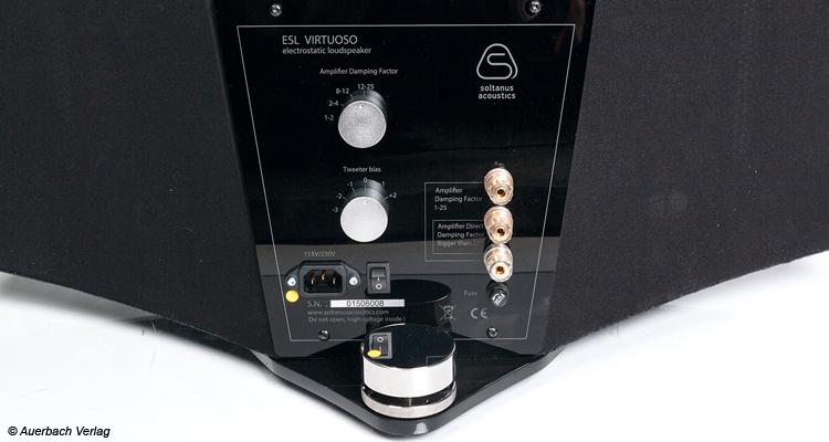 Mithilfe des oberen Drehreglers lässt sich die Virtuoso optimal auf den Dämpfungsfaktor des speisenden Verstärkers anpassen, der untere Regler beeinflusst die Höhenwiedergabe