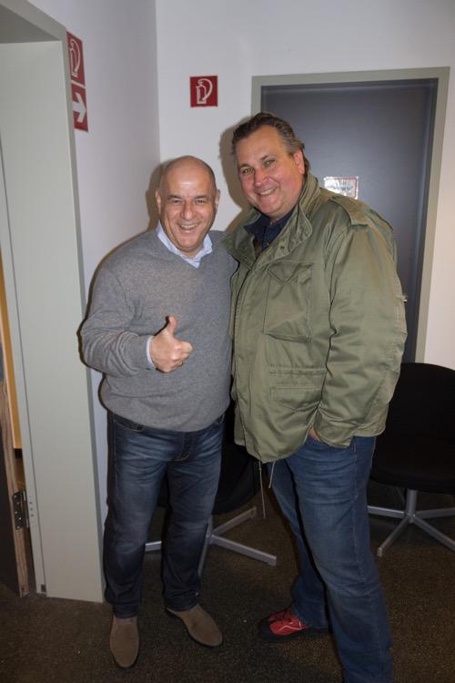Lothar Kerestedjian (links) gemeinsam mit Marco Bialk von (b-1-Vertrieb) auf den Mitteldeutschen HiFi-Tagen