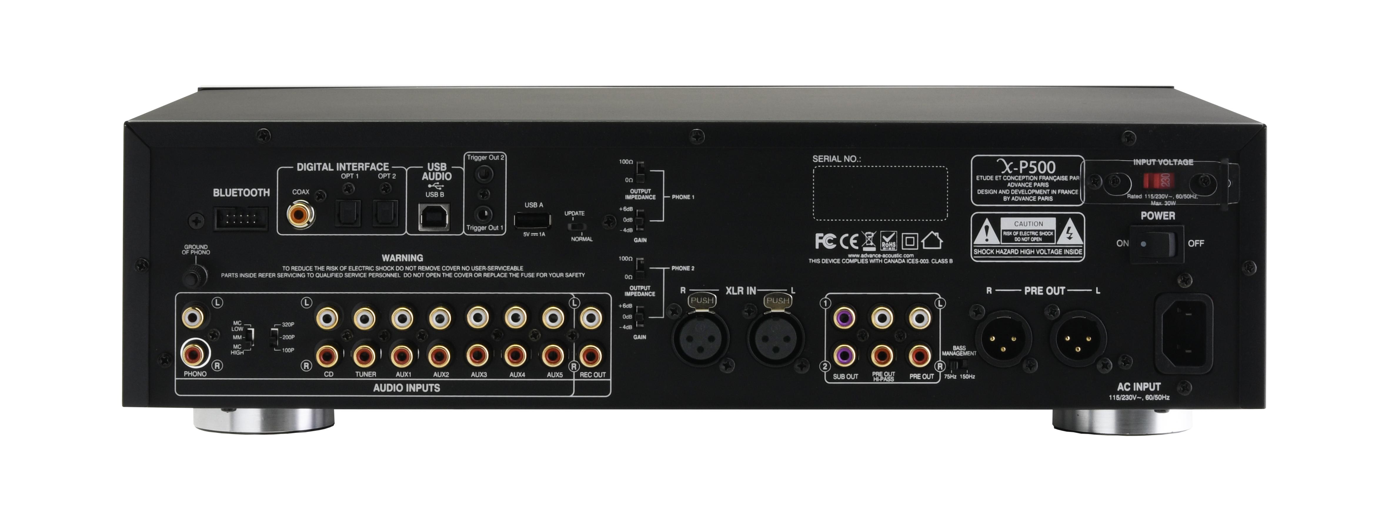 Rückseite Advance Paris X-P500 Dual-Mono Vorverstärker