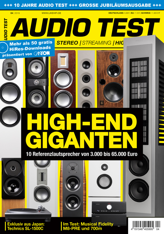 AUDIO TEST Ausgabe 4/19 Titelbild Cover Magazin Hifi Heft Highend Test Review Testmagazin
