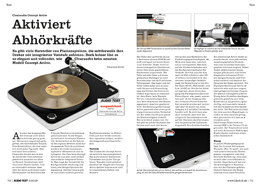 AUDIO TEST 03/19 - Seite 70/71 Clearaudio Concept Active Plattenspieler Test Review Turntable