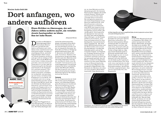AUDIO TEST 04/19 - Seite 36/37 Monitor Audio Gold 300 Test Review Lautsprecher Speaker