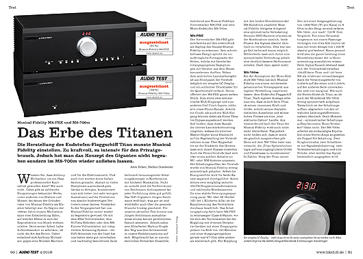 AUDIO TEST 04/19 - Seite 90/91 Vor-Endstufen-Kombi Musical Fidelity M8-PRE und M8-700M Monoblöcke Amp