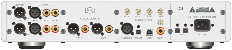 Anschlüsse B.M.C. Audio DAC2 Rückseite Rear Input Output