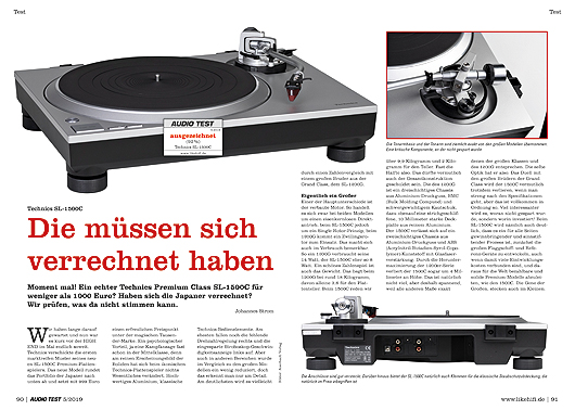 AUDIO TEST 05/19 - Test Technics SL-1500C Plattenspieler Review Turntable