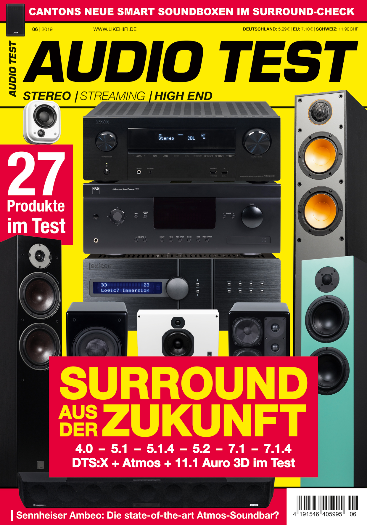 AUDIO TEST Ausgabe 6/19 Titelbild Cover Magazin Hifi Heft Highend Test Review Testmagazin Heimkino Surround Mehrkanal