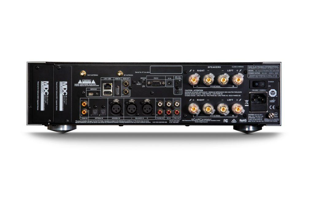 NAD M33 Rückseite Rear Anschlüsse ports Amp Integrated Vollverstärker News Test Review