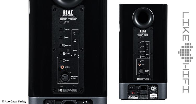 Elac Navis ARB-51 Aktivlautsprecher Test Review Testbericht Aktiv Regallautsprecher Kompaktlautsprecher Anschlüsse Rear