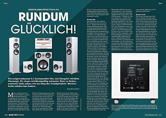 AUDIO TEST Ausgabe 08/20 Magazin HiFi Heft Kaufen Shop bestellen Abo Plattenspieler Auerbach Verlag Monitor Audio Bronze 200 Lautsprecher Test Review