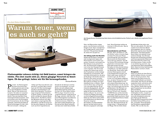 AUDIO TEST Ausgabe 08/20 Magazin HiFi Heft Kaufen Shop bestellen Abo Plattenspieler Auerbach Verlag Pro-Ject Project Debut Carbon Evo Turntable Test Review