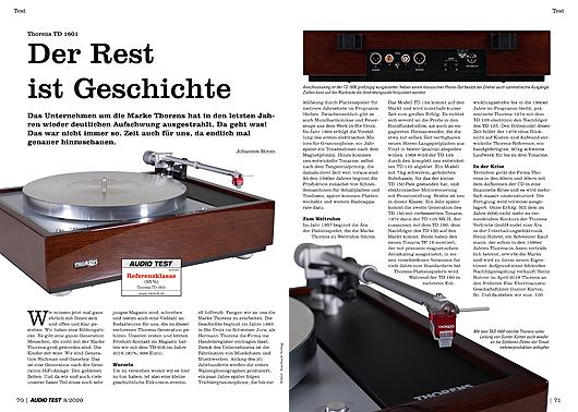 AUDIO TEST Ausgabe 08/20 Magazin HiFi Heft Kaufen Shop bestellen Abo Plattenspieler Auerbach Verlag Thorens TD 1601 Turntable Test Review
