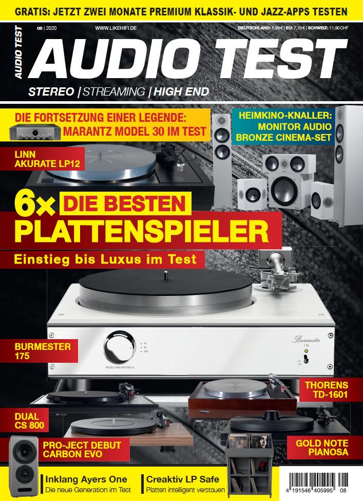 AUDIO TEST Ausgabe 08/20 Magazin HiFi Heft Kaufen Shop bestellen Abo Plattenspieler Auerbach Verlag