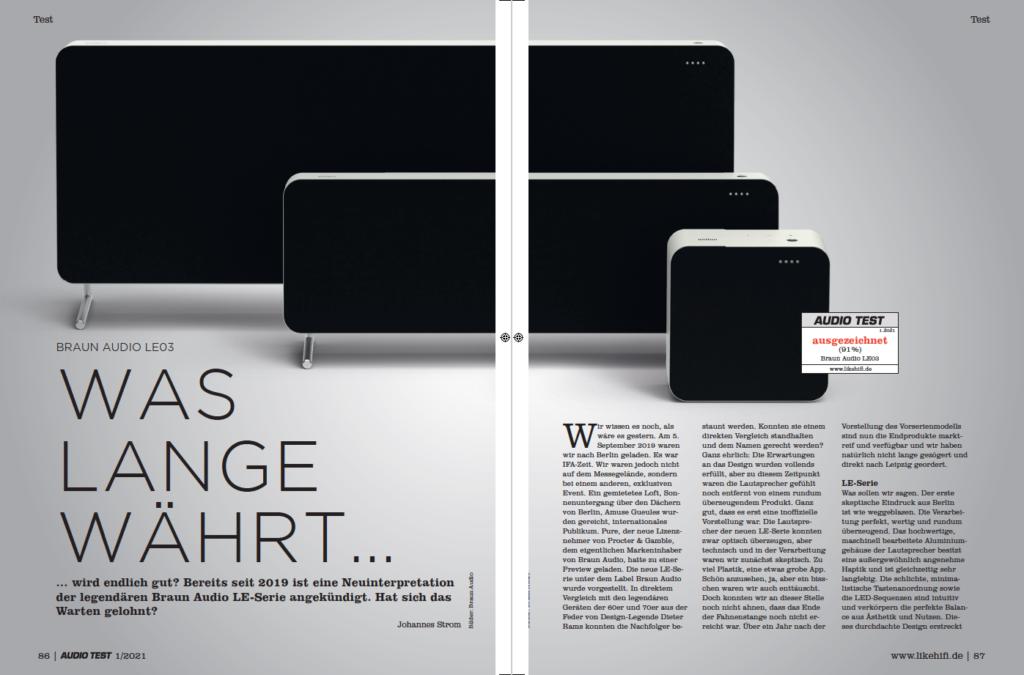 AUDIO TEST Ausgabe 01/21 Magazin HiFi Heft Kaufen Shop bestellen Abo Braun Audio LE Speaker Auerbach Verlag Test Review