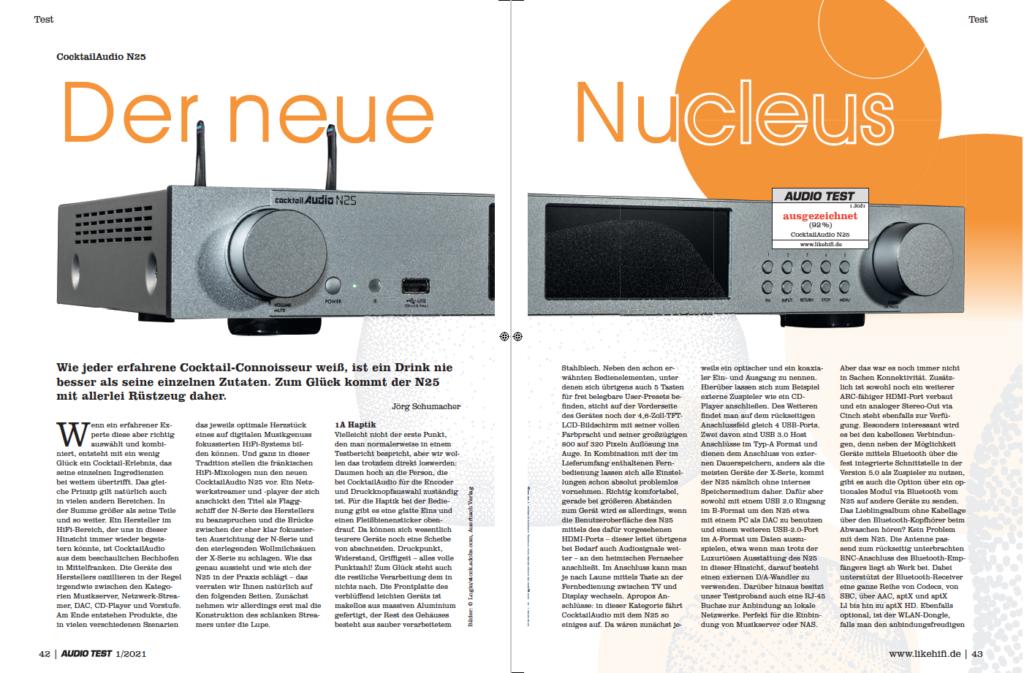 AUDIO TEST Ausgabe 01/21 Magazin HiFi Heft Kaufen Shop bestellen Abo CocktailAudio N25 Streamer Auerbach Verlag Test Review