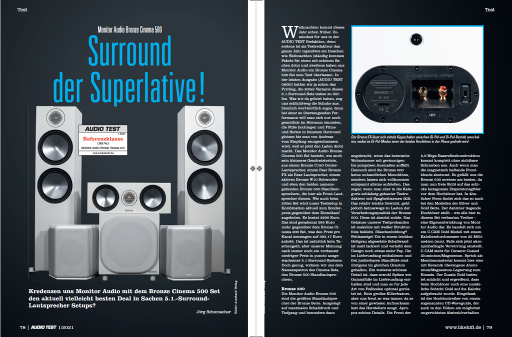 AUDIO TEST Ausgabe 01/21 Magazin HiFi Heft Kaufen Shop bestellen Abo Monitor Audio Bronze Cinema 500 Auerbach Verlag Test Review