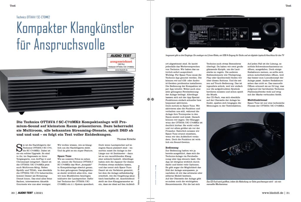 AUDIO TEST Ausgabe 01/21 Magazin HiFi Heft Kaufen Shop bestellen Abo Technics Auerbach Verlag Ottava SC-C70 Test Review