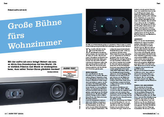 AUDIO TEST Ausgabe 02/21 Magazin HiFi Heft Kaufen Shop bestellen Abo Nubert Soundbar AS-3500 nupro Test Auerbach Verlag Test Review
