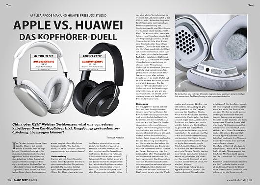 AUDIO TEST Ausgabe 03/21 Magazin HiFi Heft Kaufen Shop bestellen Abo Apple Huawei AirPods Max Auerbach Verlag Test Review