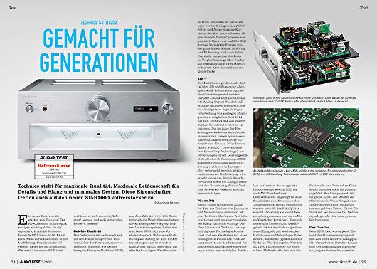 AUDIO TEST Ausgabe 03/21 Magazin HiFi Heft Kaufen Shop bestellen Abo Technics SU-R1000 Verstärker Amp Auerbach Verlag Test Review