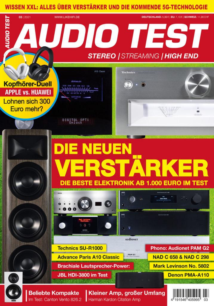 AUDIO TEST Ausgabe 03/21 Magazin HiFi Heft Kaufen Shop bestellen Abo Verstärker Stereo Auerbach Verlag Test Review März April Titelbild Cover