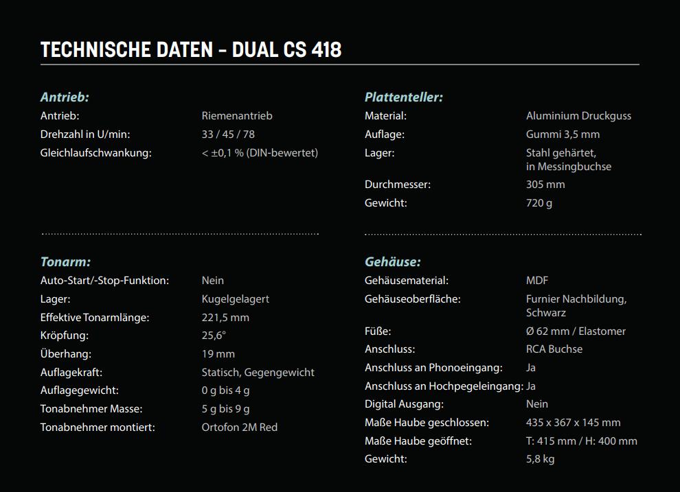 Dual CS 418 manuelle HiFi Plattenspieler Test News