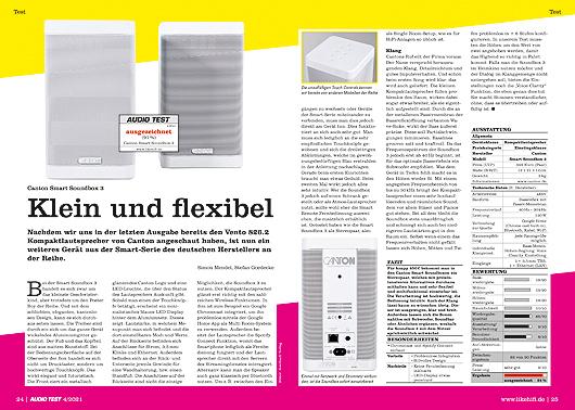 AUDIO TEST Ausgabe 04/21 Magazin HiFi Canton Soundbox 3 Smart Lautsprecher Test Review