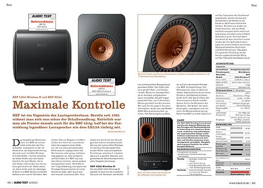 AUDIO TEST Ausgabe 04/21 Magazin HiFi KEF LS50 Wireless II Subwoofer KC62 Lautsprecher Test Review