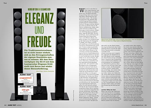 AUDIO TEST Ausgabe 04/21 Magazin HiFi Revox Joy Elegance Lautsprecher Test Review