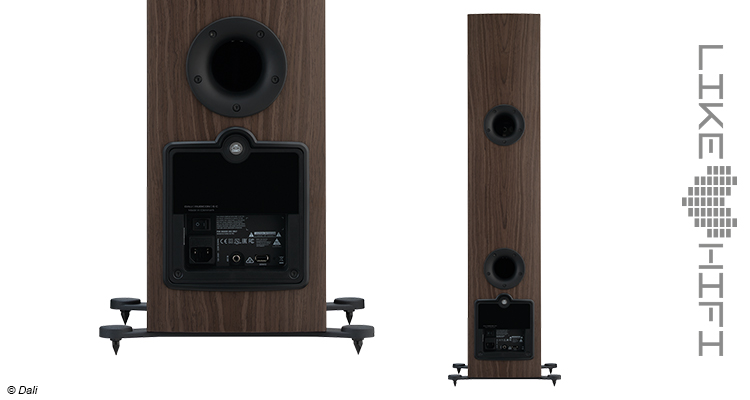 Dali Rubicon 6 C Aktive Standlautsprecher Review Test Speaker Streaming Aktivlautsprecher Braun Gehäuse Anschluss Rear Back