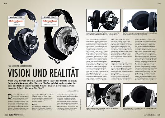 AUDIO TEST Ausgabe 05/21 Magazin HiFi Heft Kopfhörer Auerbach Verlag Test Review Juni Final D8000