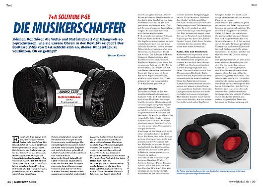 AUDIO TEST Ausgabe 05/21 Magazin HiFi Heft Kopfhörer Stereo Auerbach Verlag Test Review Juni T+A Solitaire