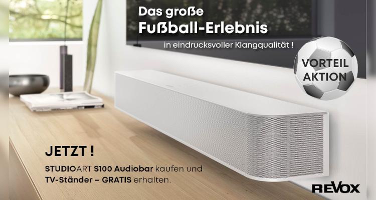 Revox Vorteil Aktion Fussball 2021 Soundbar Studioart S100 Gratis TV-Ständer