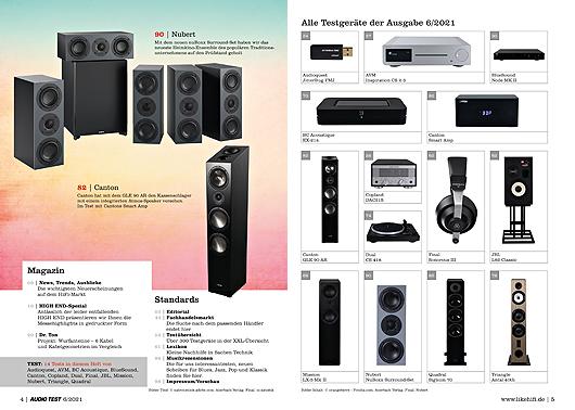 AUDIO TEST Ausgabe 06/21 Magazin HiFi Heft Lautsprecher Stereo Surround Auerbach Verlag Test Review September Inhalt