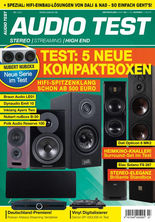 AUDIO TEST Ausgabe 07/21 Magazin HiFi Heft Kaufen Shop bestellen Abo Lautsprecher Stereo Surround Auerbach Verlag Test Review Oktober Titelbild Cover