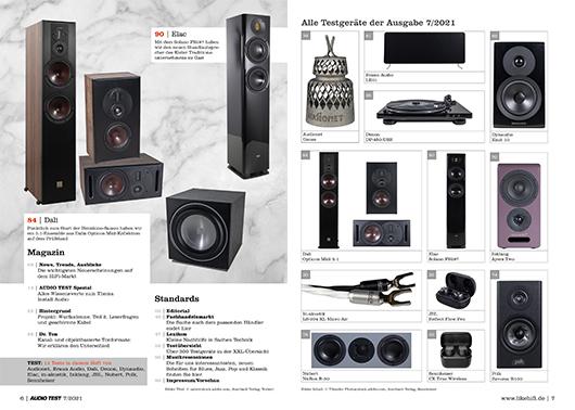 AUDIO TEST Ausgabe 07 2021 Magazin HiFi Heft Lautsprecher Stereo Surround Auerbach Verlag Test Review Oktober Inhalt