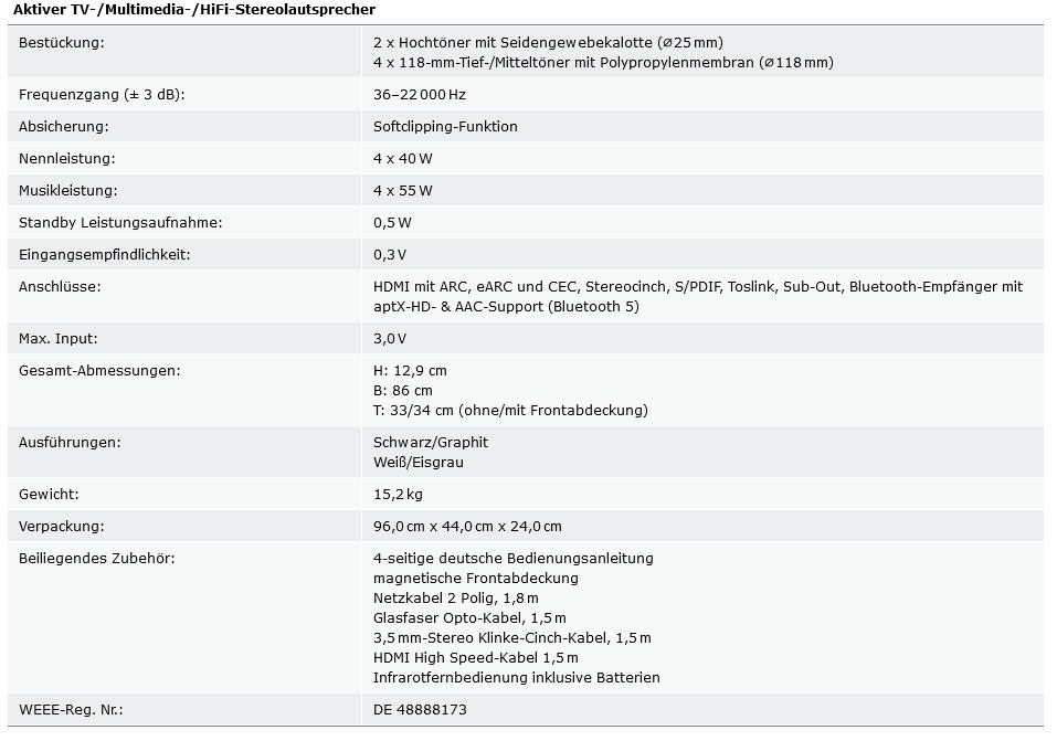 Technische Daten Soundbar nuBoxx AS-425 max